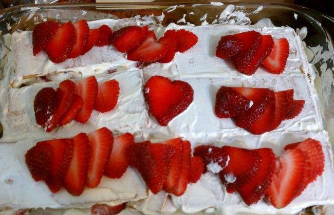 No-bake aardbeien taart