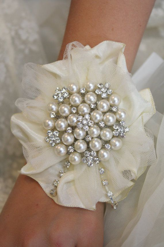 Wrist Corsage Wedding Bridal Jewelry Brooch Corsage by AbbyPlace