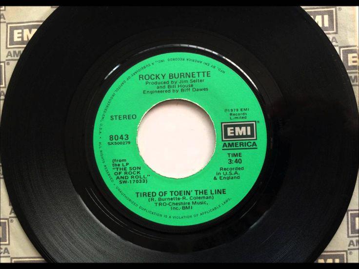 Tired Of Toein' The Line , Rocky Burnette , 1980 Vinyl 45RPM