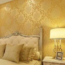 10 m europeo classico damasco oro blocco non tessuto carta da parati camera da letto soggiorno sfondo wall paper papel de parede rotolo(China (Mainland))