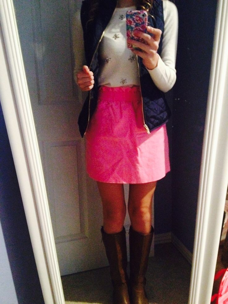 Pink skirt + white embellished sweater + navy puffer vest