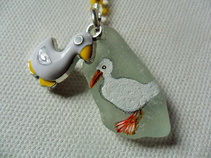 Little white duck animal hand painted bag charm/ keyring.  English sea glass by ShePaintsSeaglass on Etsy