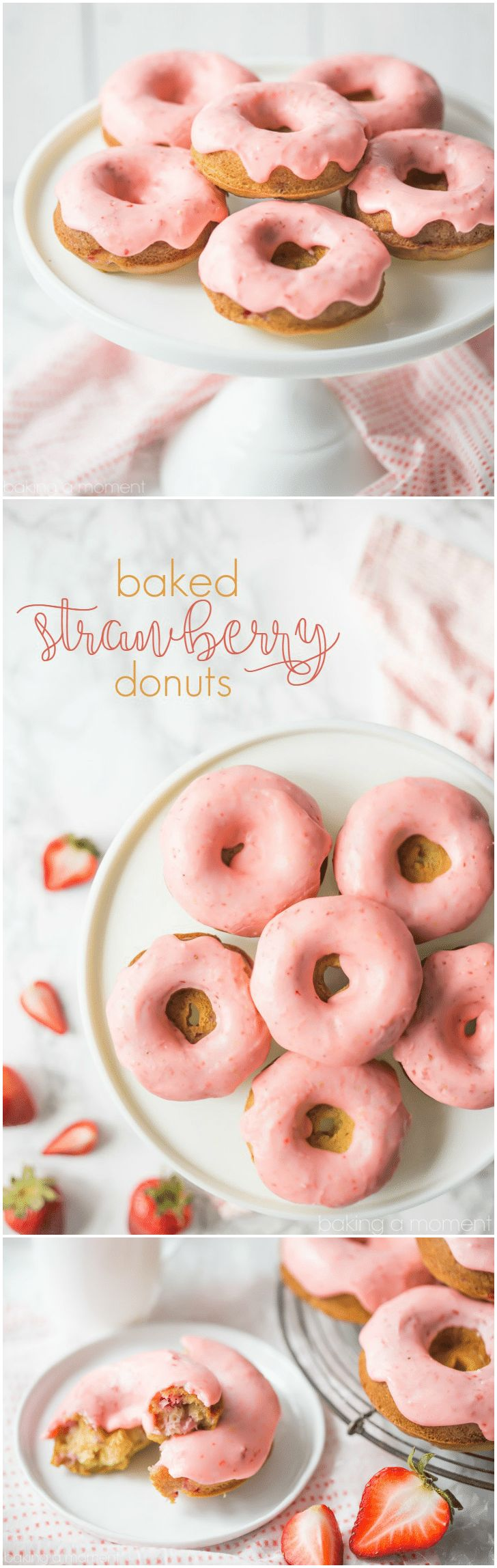 Baked Strawberry Donuts: with fresh strawberries baked right in, and a sweet and tangy pink strawberry icing!  food breakfast donuts via @bakingamoment @kitchenaidusa #sponsored