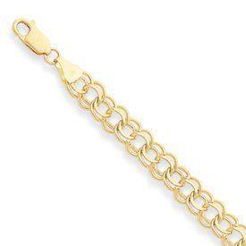 14k Double Link Charm Bracelet - 8 Inch - Lobster Claw - JewelryWeb JewelryWeb. $1373.40