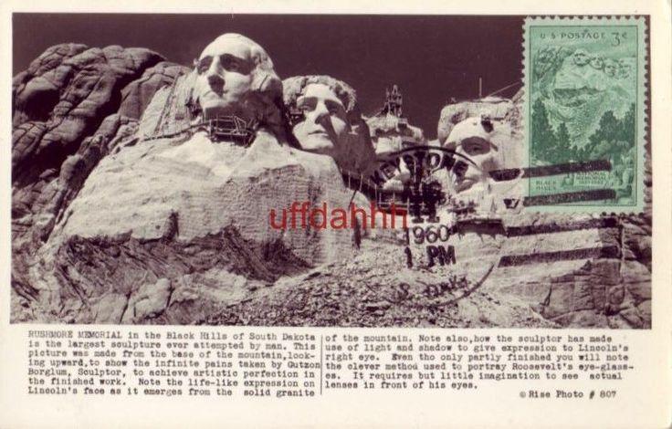 1960 MT RUSHMORE MEMORIAL Black Hills, SD (1952 Commemorative stamp) RPPC #807