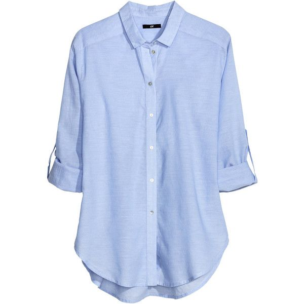 H&M Cotton blouse (86 BRL) ❤ liked on Polyvore featuring tops, blouses, shirts, blue, light blue, light blue shirt, long sleeve shirts, light blue top, blue blouse and long sleeve button shirt