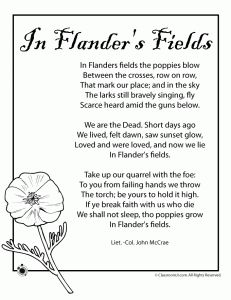 Poppy Poem for Memorial Day and Veterans Day and other worksheets