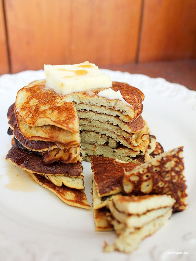 2 ingredient banana pancakes- in a food processor, combine 2 large, ripe bananas, 4 eggs, 1/4 teaspoon baking powder (optional). Spray griddle with non-stick cooking spray, and heat over medium-high heat.