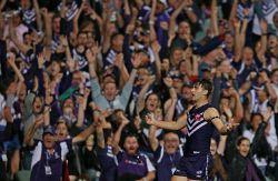 SUN-1401299 © WestPix AFL Round 5 - Fremantle Dockers vs North Melbourne Kangaroos at Subiaco Oval, Perth. Pictured - Fremantle's Shane Kersten celebrates kicking the winning goal Picture: Daniel Wilkins