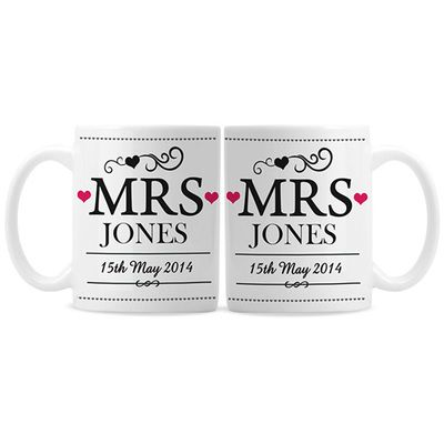 Personalised Mrs & Mrs Mug Gift Set - Civil Wedding Wedding, Civil ...