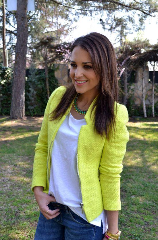Zara neon jacket by Paula Echevarria.