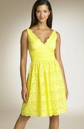 donna-morgan-eyelet-yellow-dress Wish I could pull off yellow