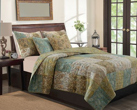 Blue Green Brown Paisley Floral Bedding Twin Full/Queen King Quilt Set Patchwork Cotton Bedspread