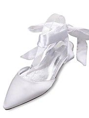 Women's+Wedding+Shoes+Comfort+Mary+Jane+D'Orsay+&+Two-Piece+Spring+Summer+Satin+Wedding+Dress+Party+&+Evening+Bowknot+Lace-up+Flat+Heel+–+AUD+$+113.08