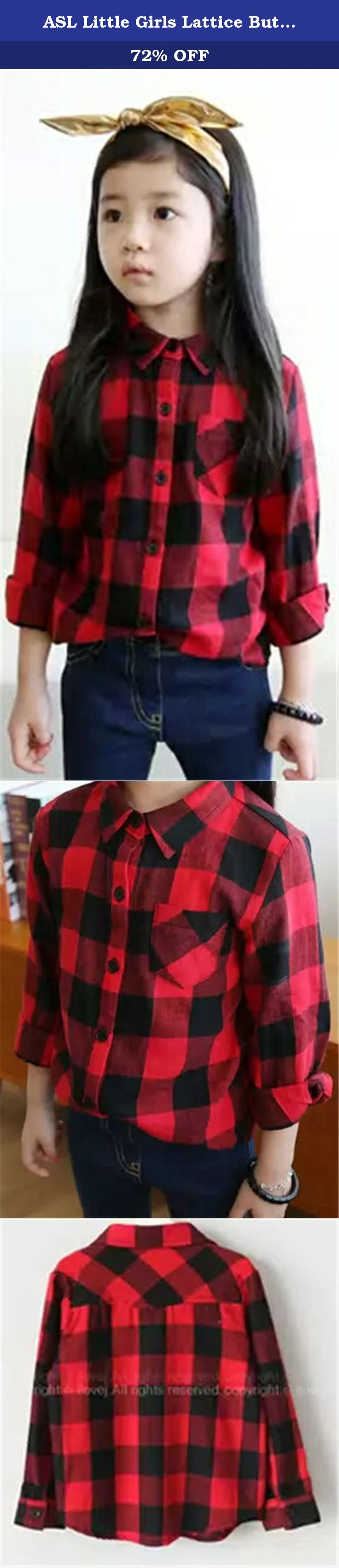 """ASL Little Girls Lattice Button Pocket Lapel Long Sleeve Shirts 6T red. Any problem can contact our customer service, promise to give you satisfied solution. The products from China which is good quality and good price. Pay attention to our Asian size which is much smaller than US size, you can contact us to get help for your right size. Material: The detail measurement is as follow: Cotton Size details: US 2T: Length:15.35""""(39cm) Bust:12.99""""(33cm) Sleeve:13.78""""(35cm); US 3T:..."""