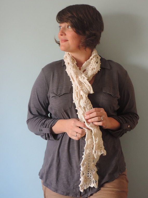 Buy this from my awesome friend!   Crochet Ivory Cream Lacy Cotton Scarf Extra Long by UnfadingLouise, $37.00