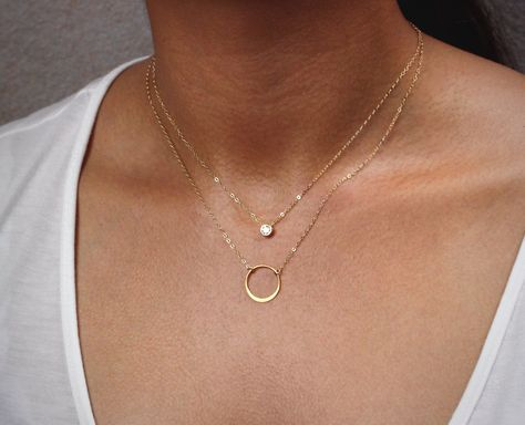 Cz Diamond Layering Necklace, Delicate Circle Necklace, Silver or Gold Karma Necklace / Thin Gold Chain Necklace, Layered Necklace Set by hotmixcold on Etsy https://www.etsy.com/listing/76366314/cz-diamond-layering-necklace-delicate
