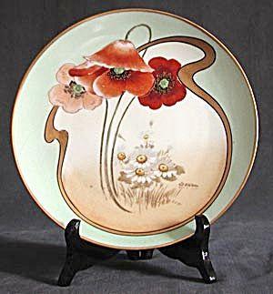 Art Nouveau Hand Painted & Signed Poppy Plate