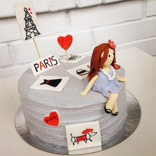 Paris Style cake with fondant girl.  Торт в стиле Париж. Девочка из мастики