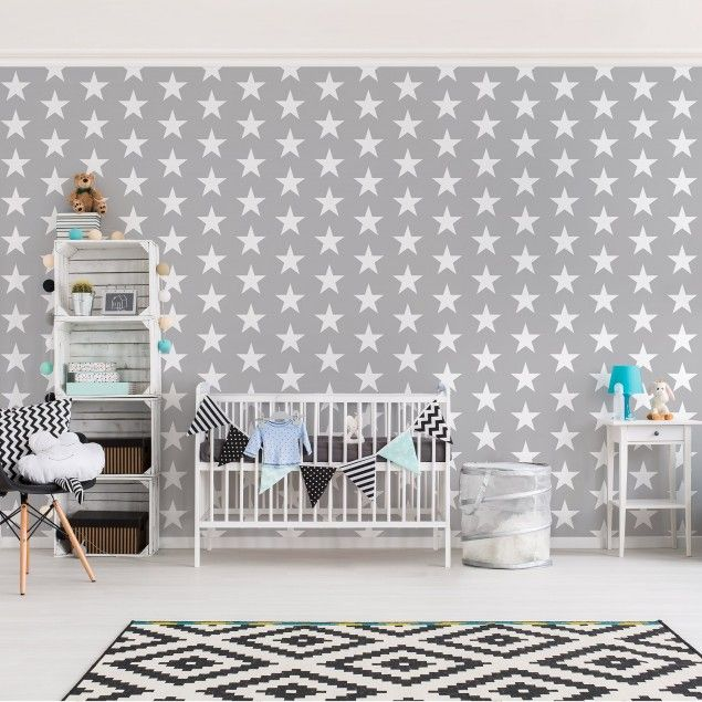 Kindertapeten - Vliestapeten - Weiße Sterne auf grauen Hintergrund - Fototapete Breit