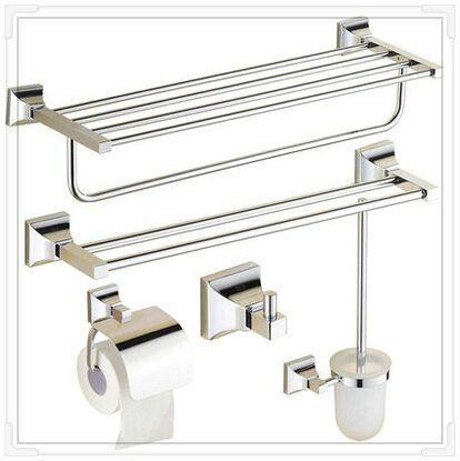 Купить товар5 шт. современный полотенце бар + держатель для туалетной бумаги + вешалка для полотенец + ванная полки + держатель для туалетной щетки аксессуары комплект ( UP KL04 ) в категории Аксессуары для ваннойна AliExpress.            &