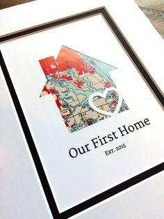 Notre maison de premier - plan de maison personnalisé - dépoli et cadeau-première Accueil cadeau - nouvelle maison pendaison de crémaillère cadeau-fermeture cadeau agent immobilier