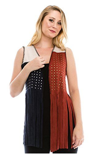 Vocal Fringed Suede Vest Texas Style Red White Blue with Silver