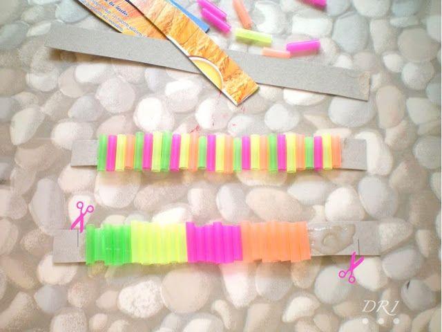 Decora Recicla Imagina …: Pulseras con Pajitas Neon- Neon Straws Bracelets