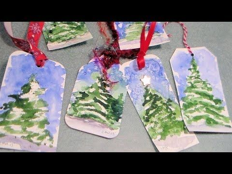 The Frugal Crafter Watercolor Tutorials on YouTube - Christmas Tree Gift Tags
