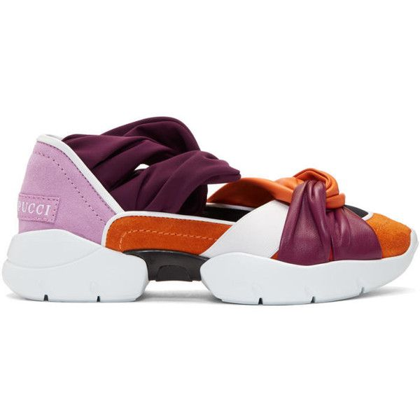 Emilio Pucci Orange and Purple City Ballerina Sneakers ($515) ❤ liked on Polyvore featuring shoes, sneakers, orange, low profile sneakers, purple ballet shoes, orange sneakers, purple jersey and round toe sneakers