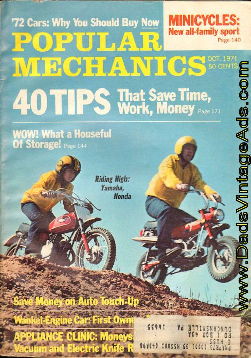 Cover Article: The Minicycle - a whole new breed of bike! A cross between motorcycle and minibike, the minicycle is a medium-size fun machine the whole family can ride.  Complete, vintage magazine.  Condition: Good   mb643