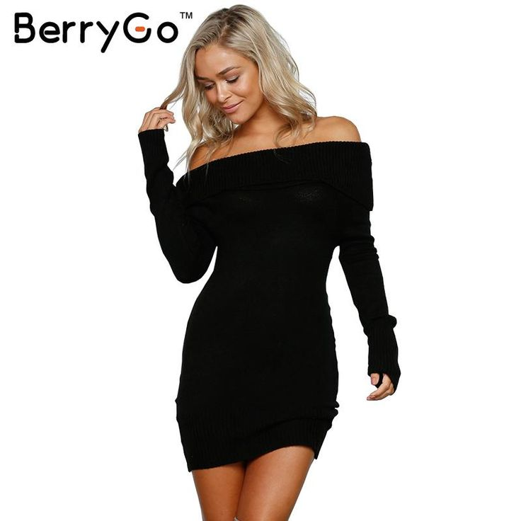 BerryGo Autumn winter off shoulder knitted bodycon dress Women sexy long sleeve party dress 2016 short white dresses vestidos