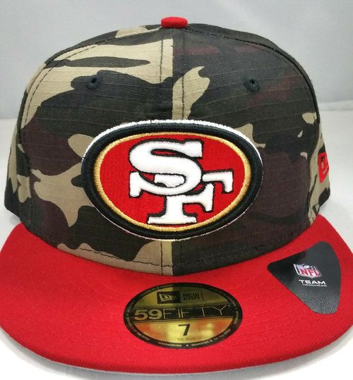 New Era NFL San Francisco 49ers Rip Right Camo 2 Tone Fitted Cap 59Fifty