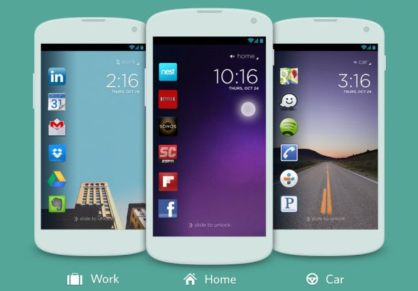Cover shows different icons on an Android phone's unlock screen depending on where the software judges a person to be. #cover #app
