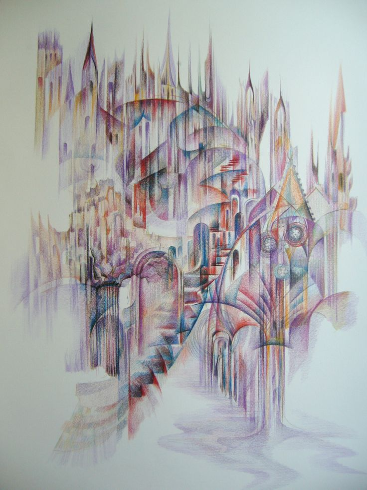 Composition- colored pencils on paper, 70/50 cm, 2010, Derecichei Simona Mihaela