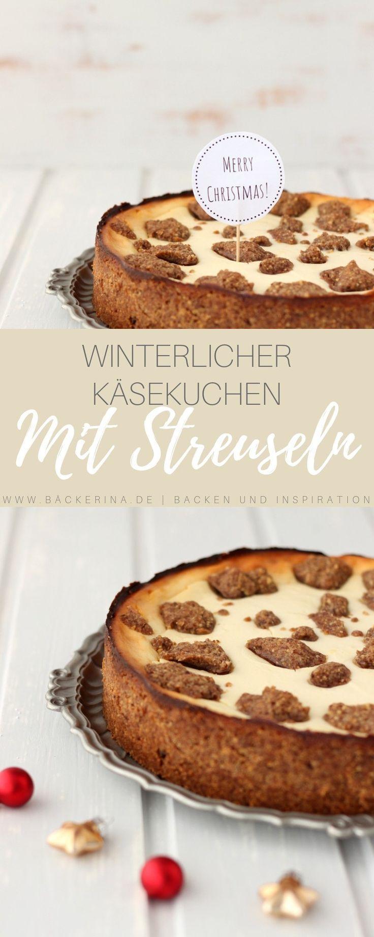 Winterlicher Käsekuchen mit Schoko-Haselnussstreuseln – #Käsekuchen #mit #Scho…