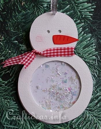 Christmas Paper Craft - Tree Ornament - Shaker Snowman Christmas Tree Ornament