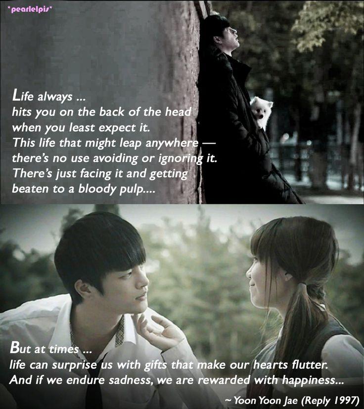 Reply 1997 / Answer Me 1997 quotes: Jung Eun-ji as Sung Shi-won, Seo In-guk as Yoon Yoon-jae (ep 13: Life)