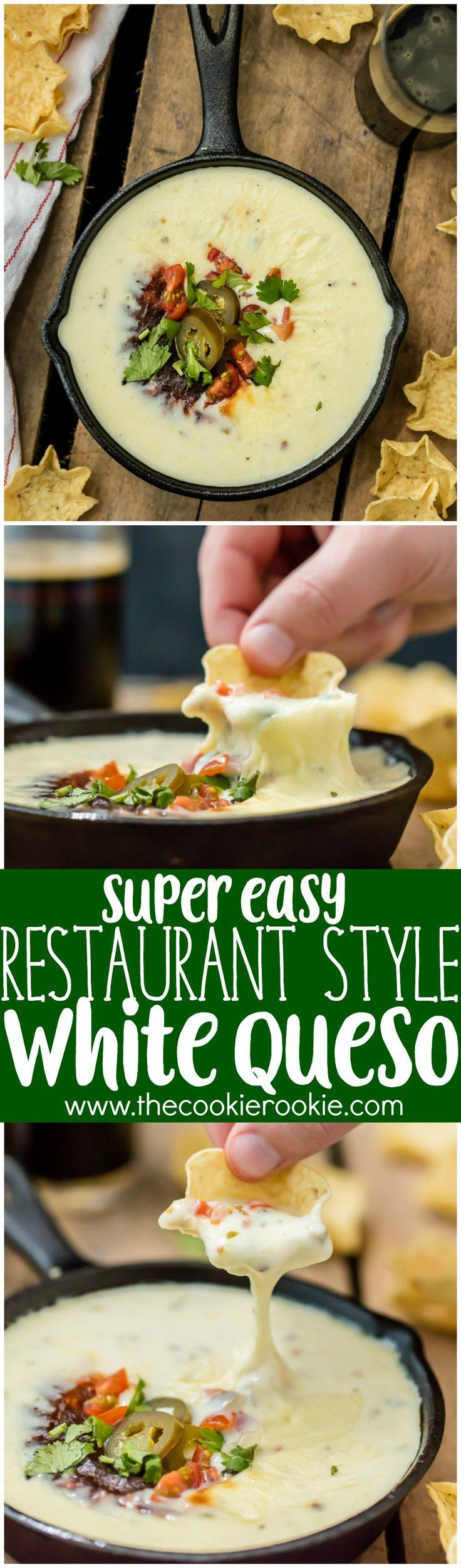 Easy Restaurant Style WHITE QUESO -FAVORITE DIP RECIPE. Tastes just like queso dip at Mexican restaurants!