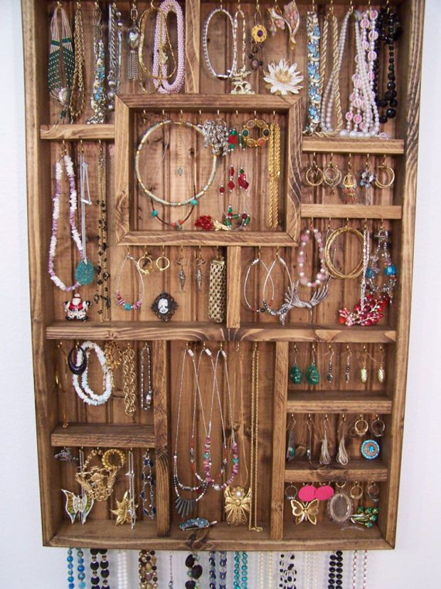 Jewelry Display Case Handmade Wood Wall Art Jewellery