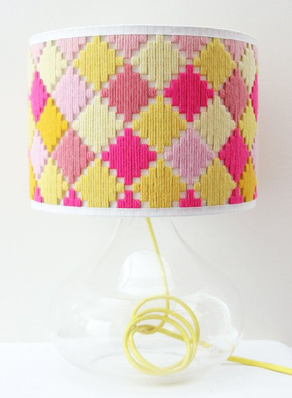 Handwoven round lamp shade - Diagonal Check in Pink & Yellow on Etsy, $160.00 AUD