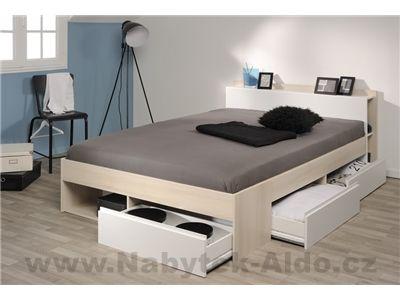 Moderní manželská postel s úložným prostorem