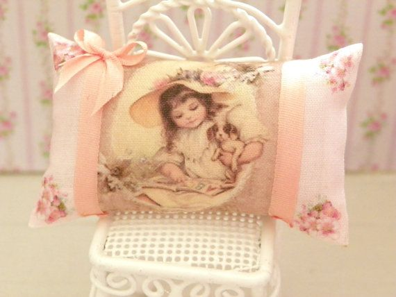 dollhouse  shabby chic miniatures pillow by Mondinadollhouse