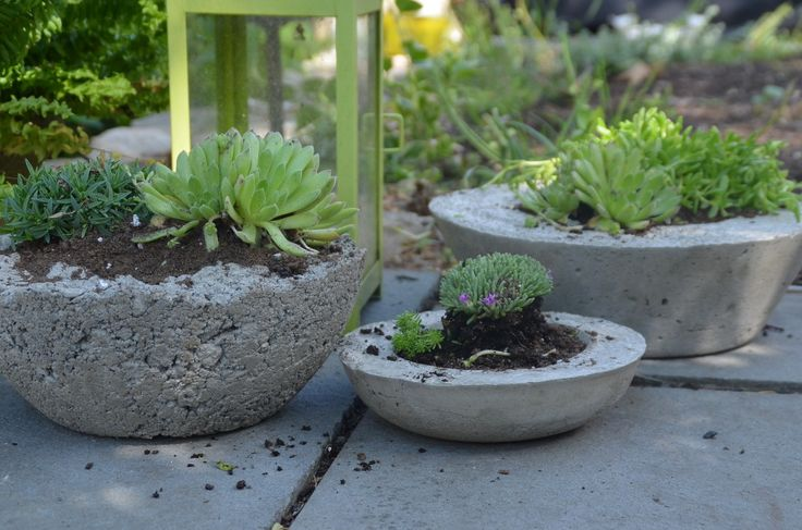 She used Quikcrete, bowls of different sizes for molds, cooking spray to coat the bowls so the concrete won't stick to the sides, and corks to put in bottom for drainage holes.  These are beautiful! I think if you wanted color you could mix a pigment with the concrete but these are fantastic just as they are! Hometalk | DIY Concrete Planters