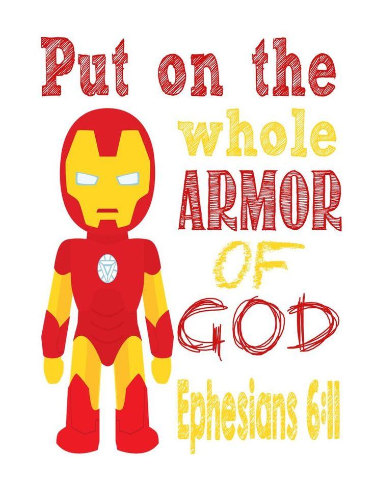 Ironman Christian Superhero Nursery Decor Art Print - Ephesians 6:11 - Put on the whole Armor of God - Multiple Sizes