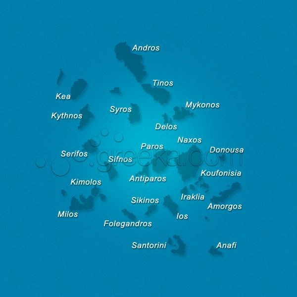 View our detailed Cyclades map, in Greece, and also individual maps of Santorini, Mykonos, Naxos, Paros and more.