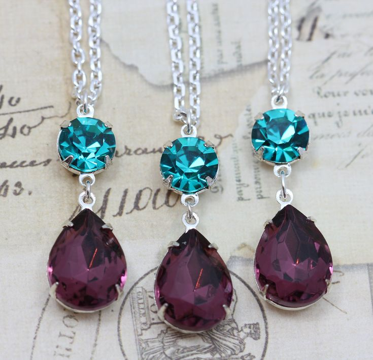 """Peacock Wedding Jewelry Necklace Bridesmaids Matching - Teal & Purple Amethyst Vintage Glass Silver 16"""" Chain -  Etsy."""
