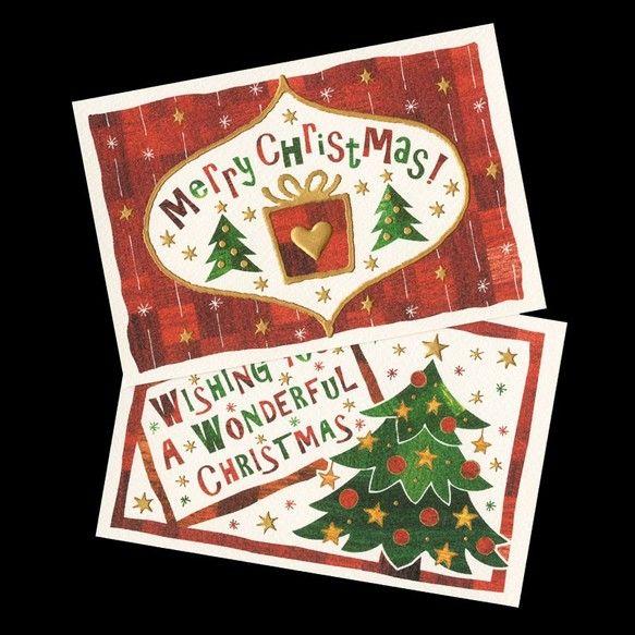 ☆クリスマス ポストカード 2種セット☆赤・緑の木目画像を使用し、温かみのあるデザインのクリスマス用のポストカードです。ゴールドの部分は、全て手描きをしていま...|ハンドメイド、手作り、手仕事品の通販・販売・購入ならCreema。