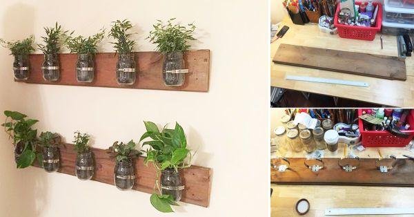 Haz este proyecto para exhibir tus plantas favoritas de una manera novedosa. Las hojas verdes le darán a tu casa un toque de frescura y naturaleza. Al mismo tiempo, el diseño del macetero creará un estilo rústico. Para hacerlo, puedes reutilizar frascos de vidrio y cualquier listón de madera que consigas. Esto abarata notablemente los costos de su realización