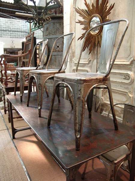 1930 Vintage French industrial Set of 6 Tolix Chairs, stripped and polished